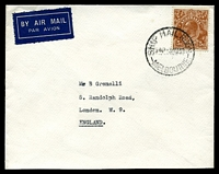 Lot 801:1938 use of 5d KGV, cancelled with 'SHIP MAIL ROOM/545P 3AU38/MELBOURNE' (B1), on plain cover by airmail to London, GB. [5d Airmail rate to British Empire valid from 1st Aug 1938 to September 1939]