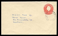 Lot 3232:1966-78 QEII Embossed ASC #E48a 6c red on buff, Post Office Preferred logo, cancelled with poor undated Leigh Creek to Hawthorn, Vic.