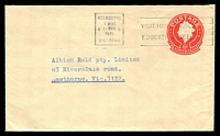 Lot 3231:1966-78 QEII Embossed ASC #E48a 6c red on buff, Post Office Preferred logo, cancelled with 'MELBOURNE/1AUG/6/1130PM/6/1961/VIC-3000 - VISIT YOUR SCHOOLS/EDUCATION WEEK' (A1) machine, to Hawthorn, Vic.