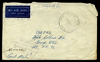 "Lot 665:Field P.O. 'FIELD P.O./7AU42/081.' (Kotara, NSW), cancelling stampless envelope endorsed ""Local Mail"" to F/Lt Collas, A.F.P.O. 71, with light boxed 'AUSTRALIAN/MILITARY FORCES/PASSED BY CENSOR/2462' (B2), mild creasing, backflap missing, some light toning. [Rated NS by Proud]"