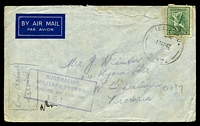 Lot 1046:Field P.O. 'FIELD P.O./17AP42/0137.' (7 M.D. Darwin), cancelling 4d Koala, on air cover to North Balwyn, Vic, with boxed 'AUSTRALIAN/MILITARY FORCES/PASSED BY CENSOR/1613