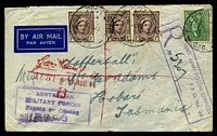 Lot 652 [1 of 2]:Field Post Office 'FIELD POST OFFICE/10AU44/036.' (Ravenshoe, Qld), cancelling 4d Koala & 1d purple-brown QE x3 on plain air cover to Tatts, bearing boxed 'R/AUST. ARMY POSTAL SERVICES/F.P.O. No. 36/NO...' (A2+) in purple & boxed 'AUSTRALIAN/MILITARY FORCES/PASSED BY CENSOR/3996' (A1-) in purple, mild creasing. [Rated 80 by Proud]