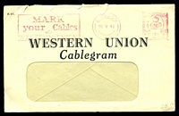 Lot 4083:1943 use of Western Union Cablegram window envelope, cancelled with London Meter N1 of 16 V 43, with enclosed Cablegram bearing octagonal 'PASSED/BY/CENSOR/[crown]/No/2397', envelope has several small closed tears at top edge.
