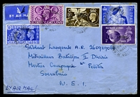 Lot 20419 [1 of 2]:1948 use of Olympic games set of 4 with 2½d blue Silver Wedding, cancelled with light double-circle 'KENSINGTON W.8/1245PM/12AU/48/4', on plain cover by air to a Soldier in Netherlands East Indies, backstamped with light Soerbaja arrival of 18.8.48, some toning.