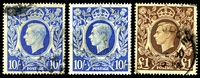 Lot 3562 [2 of 2]:1939-48 KGVI High Values SG #476-8b set of 5, Cat £40, 2/6d green has a very short closed tear at lower left, 10/- dark blue missing, 2 shades of 10/- ultramarine. (6)