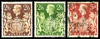 Lot 3562 [1 of 2]:1939-48 KGVI High Values SG #476-8b set of 5, Cat £40, 2/6d green has a very short closed tear at lower left, 10/- dark blue missing, 2 shades of 10/- ultramarine. (6)