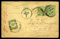 "Lot 24572:1928 use of Indian ½a green KGV postcard, uprated with ½a green KGV, cancelled with poor Devakotta of 27JUL28, to Penang, with circled '..""10""..c/T' handstamp (A1-) & 4c green Straits Settlement postage due cancelled with poor double-circle Penang, some edge wear & staining to top edge."