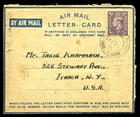 Lot 4505:1946 use of GB 3d purple KGVI, cancelled with double-circle 'FIELD POST OFFICE/24AU/46/731' (A1-) of Haifa, Palestine, on formular Airmail Lettercard to Ithaca, New York, from 2nd Lieut. in Arab Legion, message in Arabic, some mild toning.