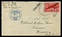 Lot 27427:1944 use of USA 6c red Airmail, cancelled with 'PAGO PAGO/OCT25/9AM/1944/SAMOA - 4' (B1), on plain cover to Kansas, Missouri, with circled 'PASSED/BY CENSOR/[initials]/American/Samoa', staple hole.