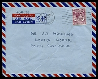 Lot 27658:1954 use of 10c purple KGVI, cancelled with 'FORCES P.O./545PM/17AUG/1954/SINGAPORE', on airmail cover to Loxton North, SA.