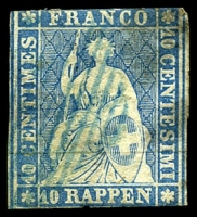 Lot 4389:1854 Seated Helvetia - Munich Printing Emerald Thread Thin Paper SG #26 10r bright blue, Cat £80, 2-margins, bit grotty.