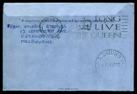 Lot 5425 [2 of 2]:1953 Coronation Flight Boomerang AAMC #1318b boxed 'AUSTRALIA - [crown] GREAT BRITAIN/EIIR/CORONATION DAY/AIR MAIL FLIGHT/JUNE 2 1953' (A1) cachet in purple on 10d constellation airletter, Cat $75+, uprated with 3½d & 7½d Coronation, cancelled with 'G.P.O. SYDNEY 146/4P2JE53/N.S.W-AUST' (A1).