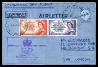 Lot 5425 [1 of 2]:1953 Coronation Flight Boomerang AAMC #1318b boxed 'AUSTRALIA - [crown] GREAT BRITAIN/EIIR/CORONATION DAY/AIR MAIL FLIGHT/JUNE 2 1953' (A1) cachet in purple on 10d constellation airletter, Cat $75+, uprated with 3½d & 7½d Coronation, cancelled with 'G.P.O. SYDNEY 146/4P2JE53/N.S.W-AUST' (A1).