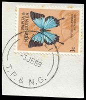 Lot 24478:Badili (1): 'BADILI/3JE69/T.P. & N.G.' on 1c butterfly, some toning around edges of stamp.  PO 1/6/1965; closed 14/7/1978.