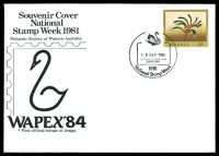 Lot 4351:1981 National Stamp Week '[swan]/28SEP1981/PERTH 6000/1981/National Stamp Week' (A1) on unaddressed 24c PSE printed for the Philatelic Society of WA with first official release of Wapex 84 logo design.