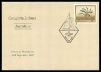 Lot 4972:1983 America's Cup '[Australia II]/27/SEPTEMBER/1983/PERTH W.A. 6000' (A1) on 27c Kangaroo Paw PSE with 'Congratulations/Australia II' opt.