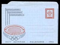 Lot 4344:1956 10d Olympic Games BW #A9 couple of small closed tears at top edge.