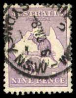Lot 176:9d Violet BW #25 Cat $75, cancelled with Sydney Ship Room of 8NO1