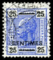 Lot 19589:1904 Plain Value Tablets SG #F10B 25c on 25h ultramarine & black, Cat £170, part Jerusalem cancel.