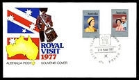 Lot 4185:1977 Royal Visit 'ROYAL VISIT/[crown/EIIR]/28MAR1977/PERTH WA 6000' (A1) on Royal Visit set of 2 on APO Souvenir Cover with Map, Flag & Grenadier.