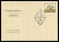 Lot 4867:1983 America's Cup '[Australia II]/27/SEPTEMBER/1983/PERTH W.A. 6000' (A1) on 27c Kangaroo Paw PSE with 'Congratulations/Australia II' opt.