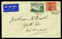 Lot 1113 [1 of 2]:1933 use of 3d dull green airmail (Type A) & 2d red KGV, cancelled with poor Brisbane of 2MR33 on plain cover by air to Sydney, some toning around stamps & 3d has a vertical fold.