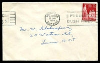 Lot 5167:1959 3½d scarlet Christmas, cancelled with 'CANBERRA/630PM/22JAN/1959/A.C.T. AUST. - PREVENT/BUSH FIRES' (A1) machine on plain local cover.