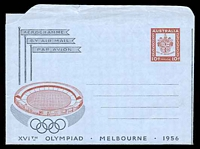 Lot 3452:1956 10d Olympic Games BW #A9 couple of small closed tears at top edge.