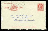 Lot 3970:1954-57 3½d Red QEII Modified Admonition BW #LC78 Die I, with 'DO NOT NEGLECT...' on front & back, cancelled with part Christmas slogan, to Whitemark, Flinders Island, slightly rough around the edges.