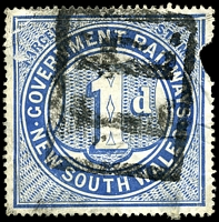 Lot 5405:1891-1915 Wmk Crown/A 1d deep blue, Cat #2.1212 Cat $20, wmk showing interpanneau '[POST]