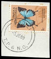 Lot 26632:Badili (1): 'BADILI/3JE69/T.P. & N.G.' on 1c butterfly, some toning around edges of stamp.  PO 1/6/1965; closed 14/7/1978.
