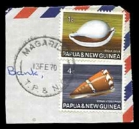 Lot 4497:Magarida: 'MAGARIDA/13FE70/T.P. & N.G.' on 4c & 1c shells.  PO 6/6/1967.