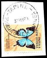 Lot 4499:Tapini: 'TAPINI./31MY69/PAPUA & NEW GUINEA' on 1c butterfly.  Renamed from Goilala PO 1/2/1960; closed 21/1/1993.