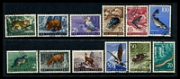 Lot 4521:1954 Wildlife SG #765-76 set of 12, Cat £65, CTO, some toning to edges.