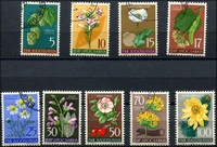 Lot 29545:1955 Flowers SG #792-800 set of 9, Cat £23, CTO, minor flaws including some toning & TLC thin to 100d