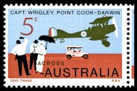 Lot 610 [2 of 2]:1969 England-Australia Flight Anniversary BW #514 se-tenant strip of 3, Cat $15, left unit showing unplated Retouch above tail of plane.