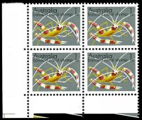 Lot 3518:1973-80 Marine Life 1c banded coral shrimp KP6T paper, BLC block of 4, BW #636 BRC unit with dark spot on shrimp.
