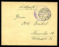 "Lot 27291:1917 use of stampless ""Feldpost!"" cover, cancelled with 'WARSCHAU/14.4.17.5-6N/**g' (A1), violet double-circle 'KAISERLICH DEUTSCHES POLIZEIPRASIDIUM/Brief-Stempel/WARSCHAU' (A2) in TRC, to Germany."