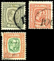 Lot 3969 [2 of 3]:1907-08 Christian IX & Frederik VIII Wmk Crown SG #81-91 short set to 40a, Cat £53. (11)