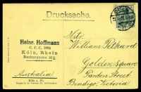 Lot 417 [2 of 2]:Germany: Holzermann sepia PPC of Crypt of St. Gereon XI, franked with 5pf green Germania, cancelled with 'COLN/23.4.13 5-6N/* 11 c' (A1-), to Bendigo, Vic.