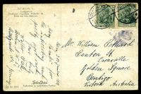 Lot 496 [2 of 2]:Germany: Farben-Photos coloured PPC of 'BERLIN/Lustgarten/Denkmal Friedrich Wilhelm III', franked with 5pf green Germania x2, cancelled with 'BERLIN NW/23.1.14 8-9N/*21e' (B1), to Bendigo, Vic, edge wear.