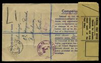 Lot 3691 [2 of 2]:1949 use of 5½d brown registration envelope, cancelled with poor Anerley cds of 15FE49, with registration label, sealed at left with OE 22 General Post Office, customs label tied by '[crown]/CUSTO