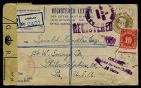 Lot 3691 [1 of 2]:1949 use of 5½d brown registration envelope, cancelled with poor Anerley cds of 15FE49, with registration label, sealed at left with OE 22 General Post Office, customs label tied by '[crown]/CUSTO