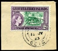 Lot 22892:Beru: double-circle 'BERU/*/16JY/63/GEIC', on 2d QEII Pictorial.  PO c.1911.