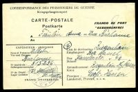 Lot 22266:1947 use of POW postcard, cancelled with double-circle 'DÉPOT DE P.G.151/CONTROLE