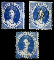 Lot 6716:1880 Small Chalon Litho Wmk 2nd Crown/Q Perf 12 SG #118-20 2/- blue in 3 shades, each with fiscal cancels, Cat £12 for fiscal cancellations.