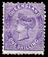 Lot 1505:1879-80 Sideface Wmk 2nd Crown/Q SG #144 1/- deep violet, Cat £90, light horizontal crease.