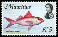 Lot 23051:1969-73 Fish SG #398 5r Sacré Chien Rouge.