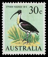 Lot 3168:1966-68 Bird Definitives BW #459 30c Straw-Necked Ibis, Cat $15.