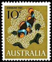 Lot 3165:1966-70 Marine Life BW #453f 10c Anemone fish, with Retouch over US of AUSTRALIA [UP 3/9], Cat $15.